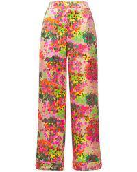 Stella McCartney Pantalon De Pyjama En Soie Imprimé Ava Cheering - Multicolore