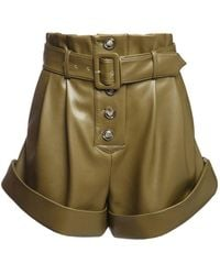 Self-Portrait High Waist Faux Leather Shorts - Green