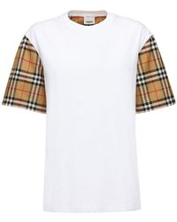 Burberry Vintage Check Detail Cotton T-shirt - Weiß