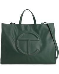 Telfar Large Embossed Faux Leather Tote Bag - Green