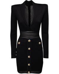 Balmain Knit Viscose Mini Dress W/ Buttons - Black