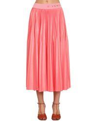 Givenchy Плиссированная Юбка С Логотипом На Поясе - Розовый