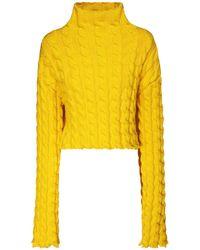 Balenciaga Crop Knit Cable Jumper - Black