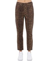 Guess Leo Print Cotton Denim Jeans - Brown