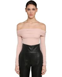 Alexandre Vauthier Off Shoulder Stretch Jersey Bodysuit - Multicolor