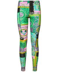 Versace Barrocco Mosaic Print Leggings - Green