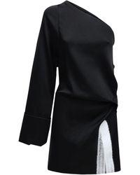 Off-White c/o Virgil Abloh Асимметричное Короткое Платье Из Атласа - Черный