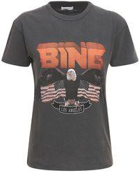 Anine Bing T-shirt En Coton Imprimé Bing - Noir