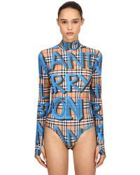 Burberry - Graffiti Check Printed Lycra Bodysuit - Lyst