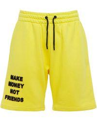 MAKE MONEY NOT FRIENDS コットンジャージースウェットハーフパンツ - イエロー
