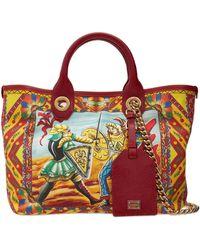 Dolce & Gabbana Capri キャンバス&レザーバッグ - レッド