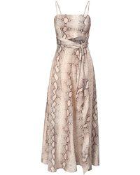 Zimmermann Льняное Платье Миди С Принтом Bellitude - Естественный