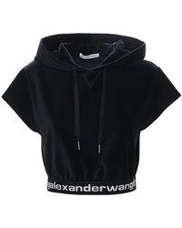 Alexander Wang Bauchfreies Oberteil Aus Stretch-kord Mit Logo - Schwarz