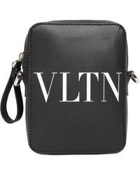 Valentino Umhängetasche Aus Leder Mit Vltn-logo - Schwarz