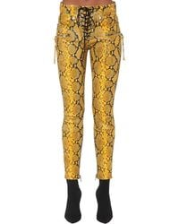 Unravel Project Snake-print Leather Lace-up Trousers - Yellow