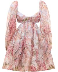 Zimmermann Botanica Printed Linen & Silk Mini Dress - Pink