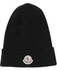 Moncler Logo Virgin Wool Rib Knit Beanie - Black