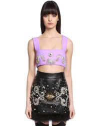 Fausto Puglisi - Embellished Wool Crepe Crop Top - Lyst