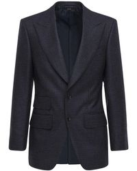 Tom Ford Blazer Monopetto In Lana Pied De Poule - Blu