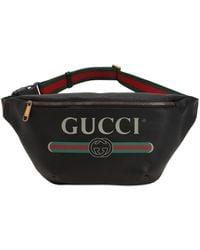 Gucci Large Print Leather Belt Bag - Black