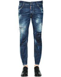 DSquared² Jeans En Denim Déchiré Coupe Tidy Biker 17Cm - Bleu
