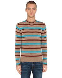 Prada - Striped Intarsia Wool & Cashmere Jumper - Lyst