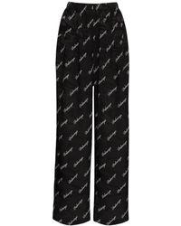 Balenciaga ジャカードシルクワイドパンツ - ブラック