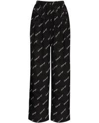 Balenciaga Брюки С Логотипом Из Шелкового Жаккарда - Черный