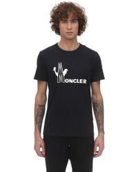 Moncler Bedrucktes T-shirt Aus Baumwolljersey - Blau