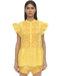 Carolina K Anna Sleeveless Linen Eyelet Lace Shirt - Yellow