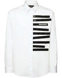 DSquared² Hemd Aus Baumwollpopeline Mit Druck - Weiß