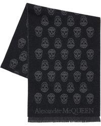 Alexander McQueen Foulard Réversible En Laine Intarsia - Noir