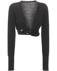 Jacquemus Cropped Linen Knit Twisted Cardigan - Black