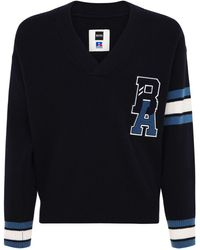 BOSS x Russell Athletic Logo Patch Wool Knit Sweater - Blue