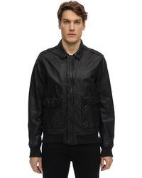 Schott Nyc Zip-up Washed Leather Jacket - Black