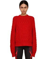 Givenchy Pull-over En Laine Et Coton Avec Logo - Rouge