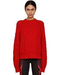 Givenchy コットン&ウール ロゴニットセーター - レッド