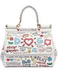 Dolce & Gabbana - Small Sicily Graffiti Leather Bag - Lyst