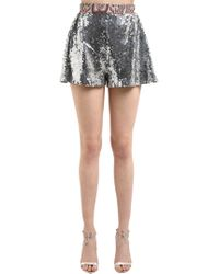 Paco Rabanne - Sequined Shorts W/ Printed Waistband - Lyst