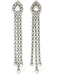 Area Crystal Fringe Drop Earrings - Metallic