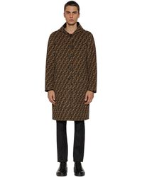 f3f5008a Ff All Over Reversible Hooded Wool Coat - Black