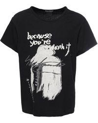 Yohji Yamamoto Camiseta De Jersey De Algodón Estampada - Negro