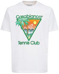 CASABLANCA Tennis Club Icon コットンジャージーtシャツ - ホワイト