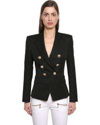 Balmain - Double Breasted Wool Twill Blazer - Lyst