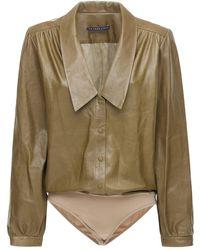 Zeynep Arcay Leather Bodysuit W/ Collar - Green
