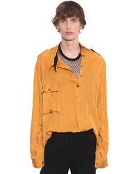 Ann Demeulemeester Asymmetric Cupro Shirt - Orange
