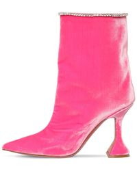 AMINA MUADDI *icon Mia Fuchsia Velvet Boots With Pointed Tip, Trimmed By White Crystals. - Pink