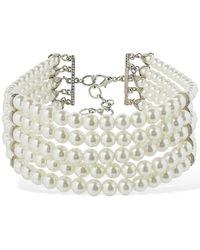 Alessandra Rich Mehrsträngiges Halsband Mit Kunstperlen - Weiß