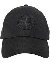 Stone Island Logo Wool Blend Baseball Hat - Black