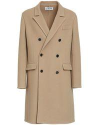 Loewe Двубортное Пальто Из Шерсти - Естественный